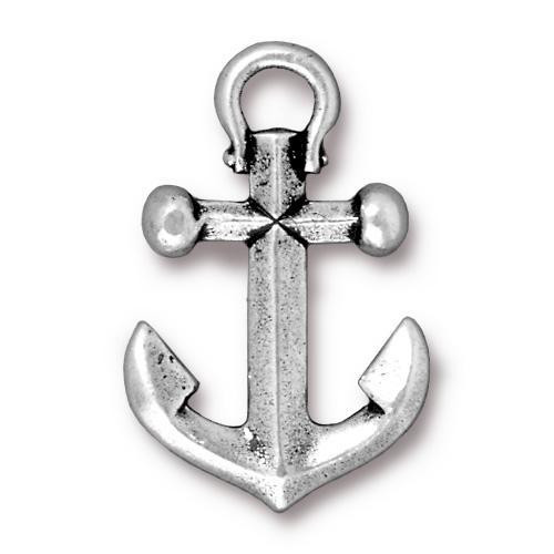 Anchor Pendant, Antiqued Silver Plate, 10 per Pack