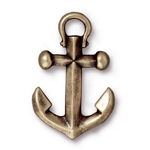 Anchor Pendant, Oxidized Brass Plate, 10 per Pack