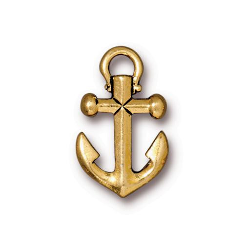 Anchor Charm, Antiqued Gold Plate, 20 per Pack