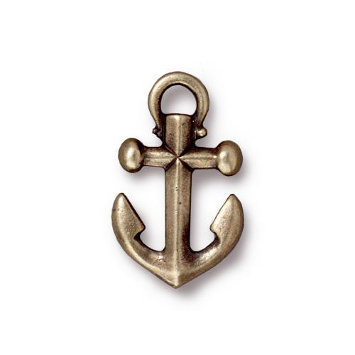 Anchor Charm, Oxidized Brass Plate, 20 per Pack