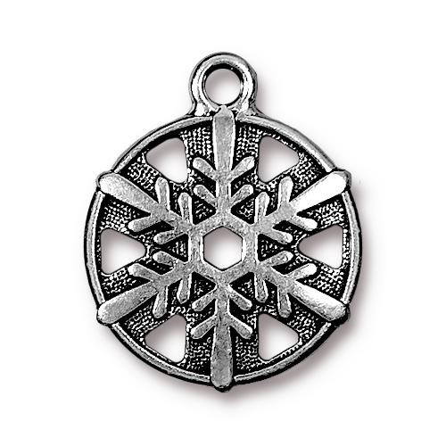 Snowflake Charm, Antiqued Silver Plate, 20 per Pack