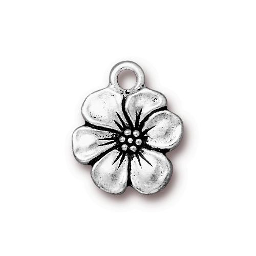 Apple Blossom Charm, Antiqued Silver Plate, 20 per Pack