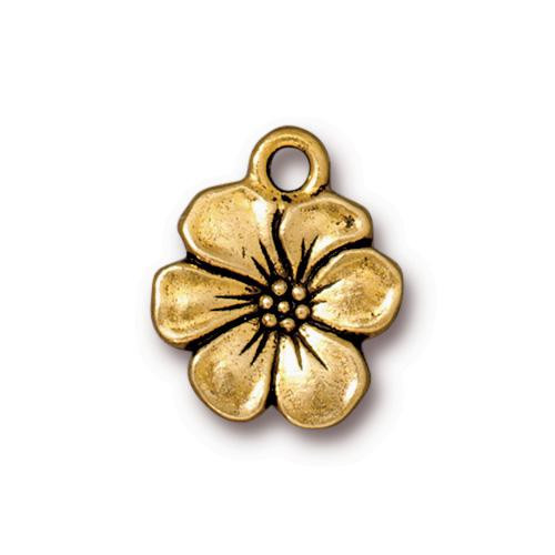 Apple Blossom Charm, Antiqued Gold Plate, 20 per Pack