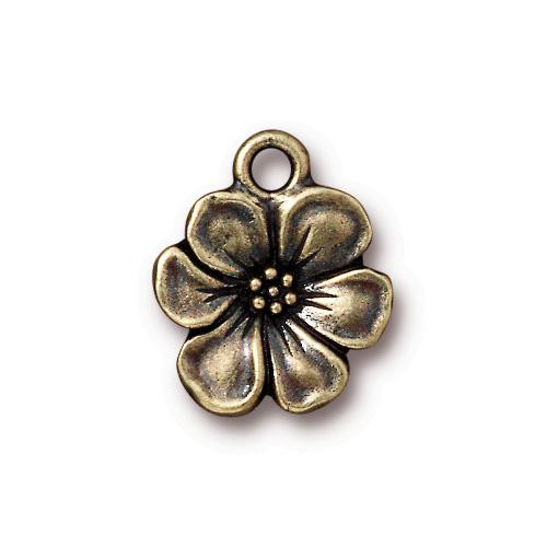 Apple Blossom Charm, Oxidized Brass Plate, 20 per Pack