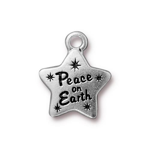 Peace Star Charm, Antiqued Silver Plate, 20 per Pack