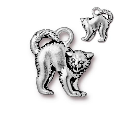 Scary Cat Charm, Antiqued Silver Plate, 20 per Pack