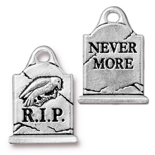 Gravestone Charm, Antiqued Silver Plate, 20 per Pack