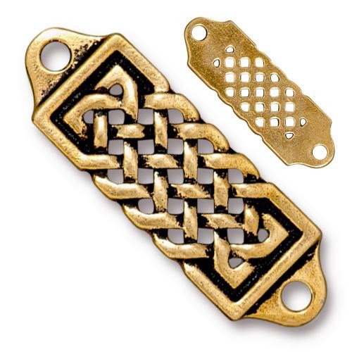 Celtic Centerpiece Link, Antiqued Gold Plate, 10 per Pack