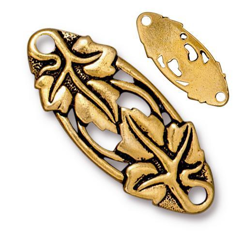 Leaf Centerpiece Link, Antiqued Gold Plate, 10 per Pack