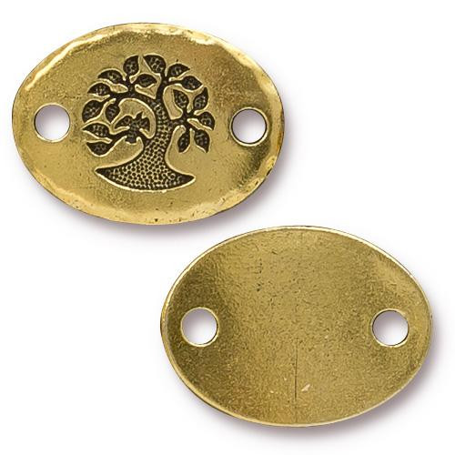 Bird In A Tree Link, Antiqued Gold Plate, 20 per Pack