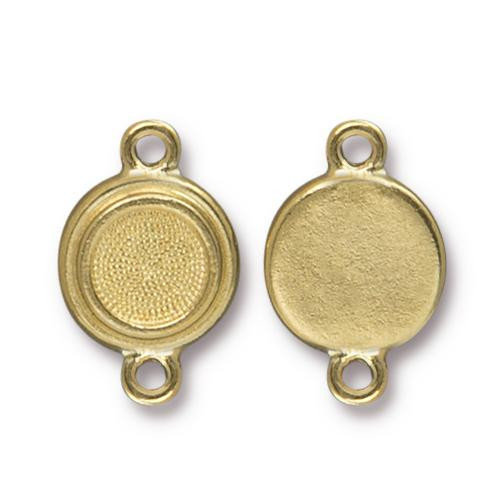 Clearance: SS34 Stepped Bezel Link, Gold Plate, 20 per Pack