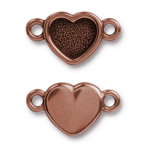 Clearance: Heart Bezel Link, Antiqued Copper Plate, 20 per Pack