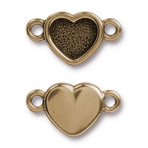 Clearance: Heart Bezel Link, Oxidized Brass Plate, 20 per Pack