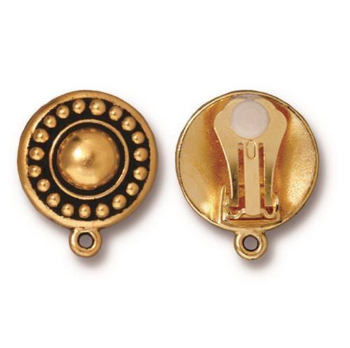 Beaded Clip-on Earring, Antiqued Gold Plate, 6 per Pack