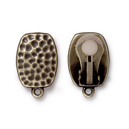 Hammertone Clip-on Earring, Oxidized Brass Plate, 6 per Pack