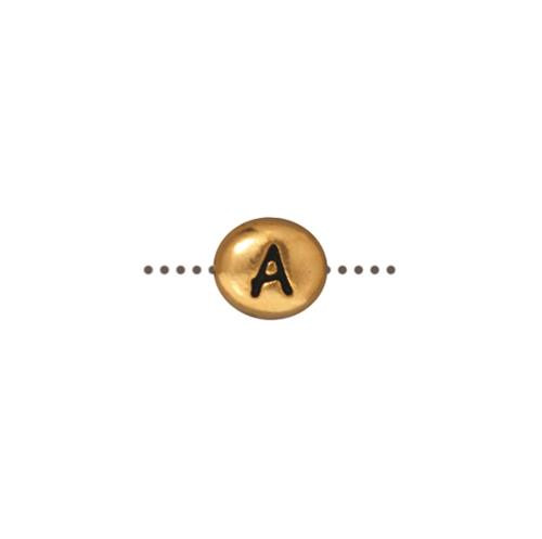 A Alphabet Bead, Antiqued Gold Plate, 20 per Pack