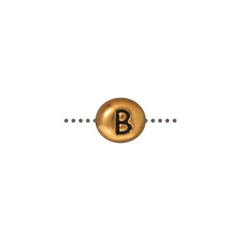 B Alphabet Bead, Antiqued Gold Plate, 20 per Pack