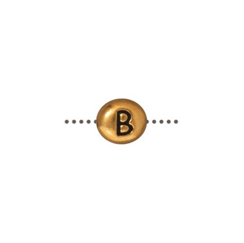 B Alphabet Bead, Antiqued Gold Plate, 20 per Pack