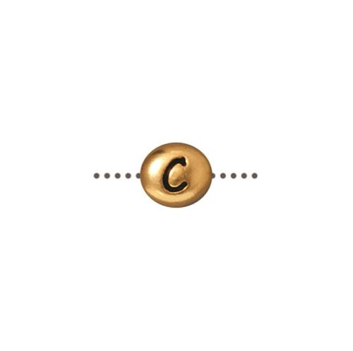 C Alphabet Bead, Antiqued Gold Plate, 20 per Pack