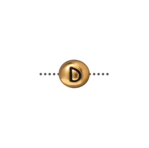 D Alphabet Bead, Antiqued Gold Plate, 20 per Pack