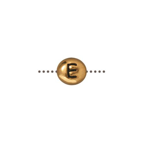 E Alphabet Bead, Antiqued Gold Plate, 20 per Pack