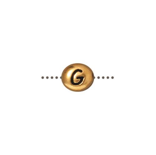 G Alphabet Bead, Antiqued Gold Plate, 20 per Pack