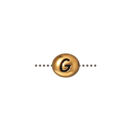 G Alphabet Bead, Antiqued Gold Plate, 20 per Pack