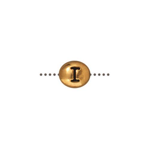 I Alphabet Bead, Antiqued Gold Plate, 20 per Pack