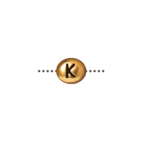 K Alphabet Bead, Antiqued Gold Plate, 20 per Pack