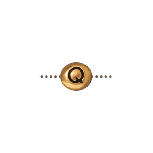 Q Alphabet Bead, Antiqued Gold Plate, 20 per Pack