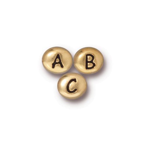 Alphabet Bead Mix, Antiqued Gold Plate, 260 per Pack