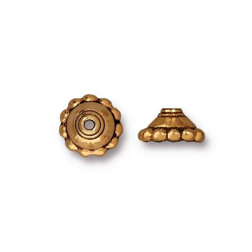 Beaded 8mm Bead Cap, Antiqued Gold Plate, 20 per Pack