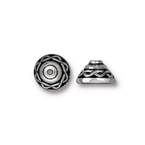 Celtic 8mm Bead Cap, Antiqued Silver Plate, 20 per Pack