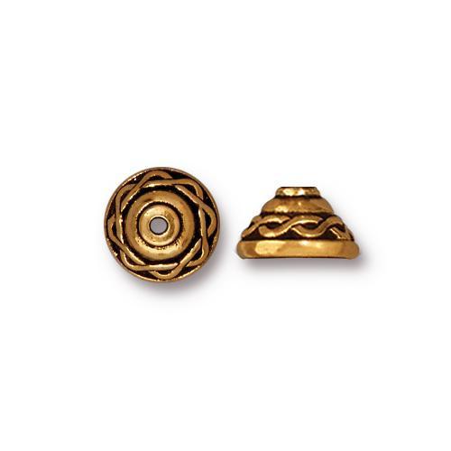 Celtic 8mm Bead Cap, Antiqued Gold Plate, 20 per Pack