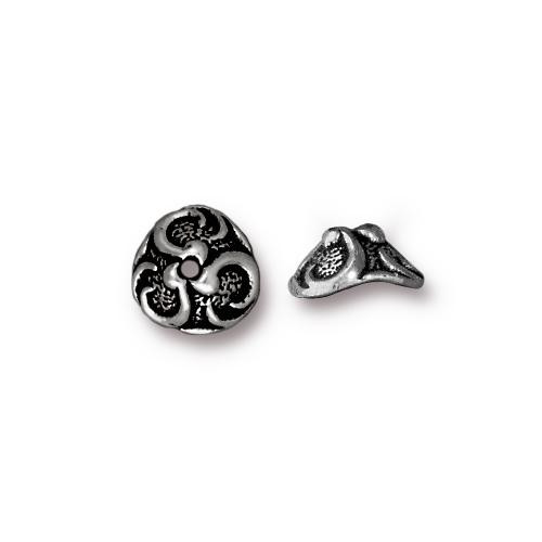 Lily 8mm Bead Cap, Antiqued Silver Plate, 20 per Pack