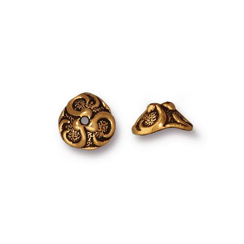 Lily 8mm Bead Cap, Antiqued Gold Plate, 20 per Pack