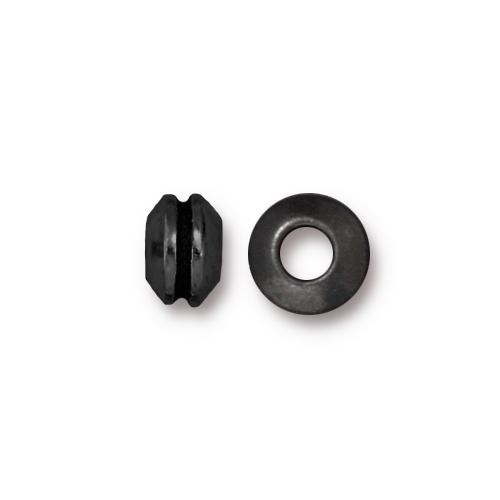 Grooved 8mm Large Hole Bead, Black Plate, 20 per Pack