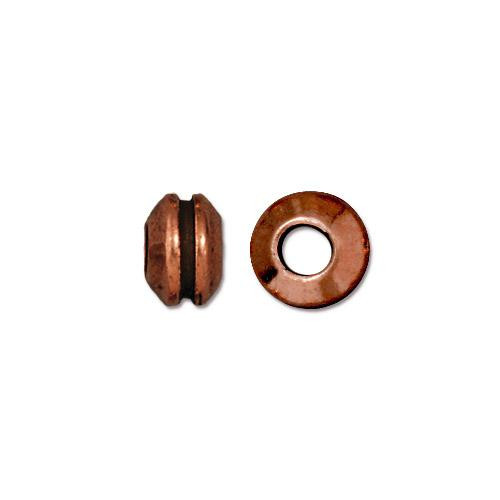 Grooved 8mm Large Hole Bead, Antiqued Copper Plate, 20 per Pack