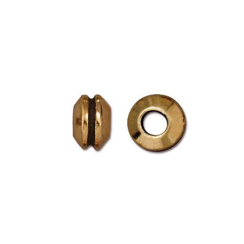 Grooved 8mm Large Hole Bead, Antiqued Gold Plate, 20 per Pack