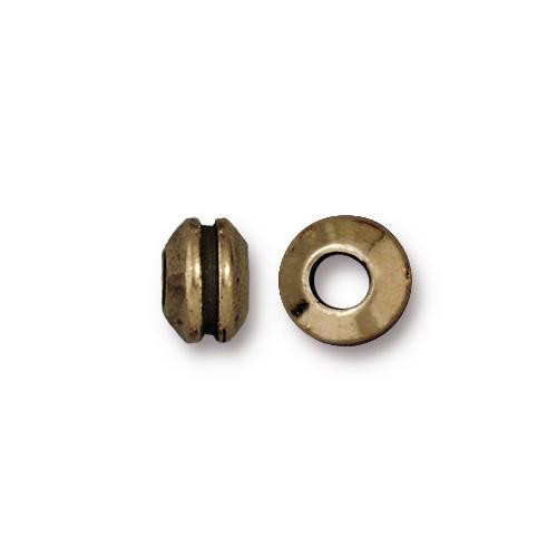 Grooved 8mm Large Hole Bead, Oxidized Brass Plate, 20 per Pack