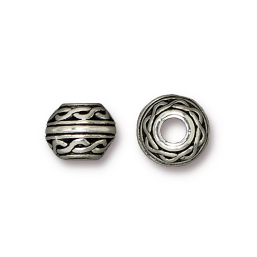 Celtic Large Hole Bead, Antiqued Silver Plate, 20 per Pack