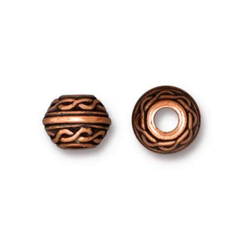 Celtic Large Hole Bead, Antiqued Copper Plate, 20 per Pack