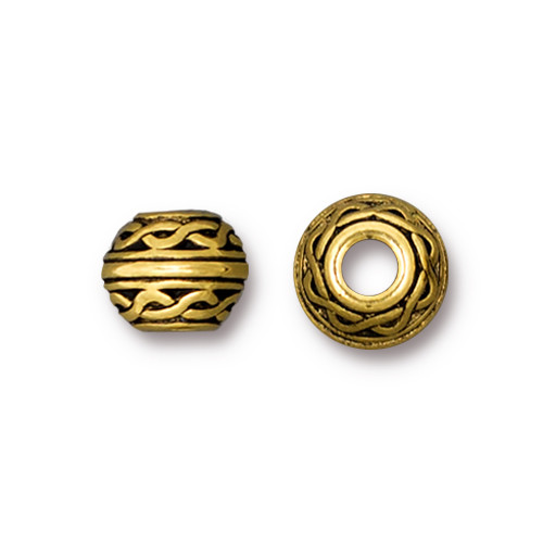 Celtic Large Hole Bead, Antiqued Gold Plate, 20 per Pack