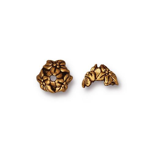 Jasmine 7mm Bead Cap, Antiqued Gold Plate, 20 per Pack