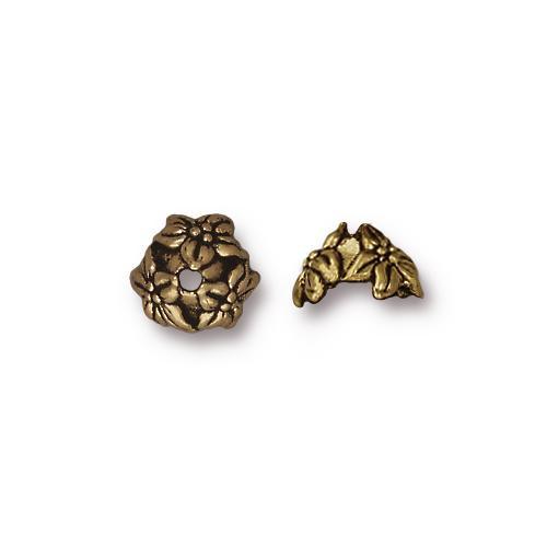 Jasmine 7mm Bead Cap, Oxidized Brass Plate, 20 per Pack
