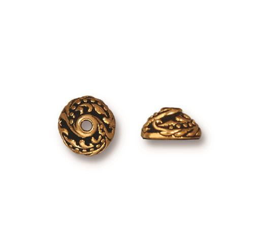 Ivy 7mm Bead Cap, Antiqued Gold Plate, 20 per Pack