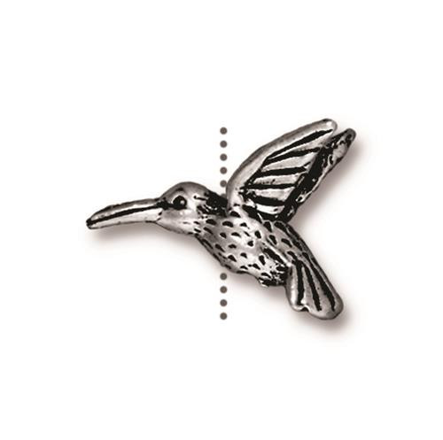 Hummingbird Bead, Antiqued Silver Plate, 20 per Pack