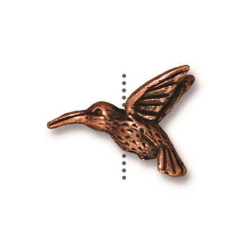 Hummingbird Bead, Antiqued Copper Plate, 20 per Pack