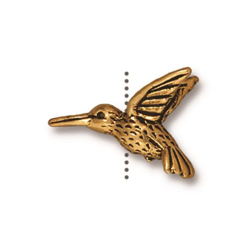 Hummingbird Bead, Antiqued Gold Plate, 20 per Pack