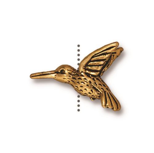 Hummingbird Bead, Antiqued Gold Plate, 20 per Pack